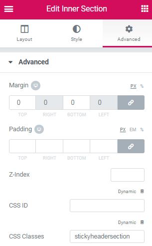 Simple Elementor Transparent Header Changing Background Color