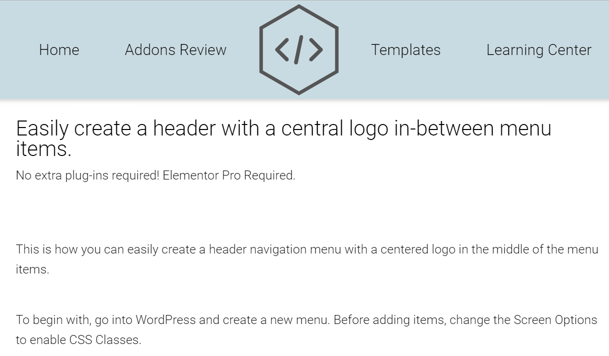Easy Elementor Centered Logo Header!