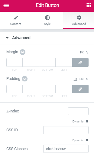 Create a section that shows up only on button click​ 3