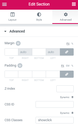 Create a section that shows up only on button click​ 2