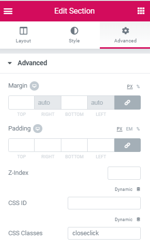 Elementor Remove Section on Button Click